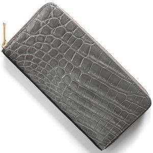本革 長財布 財布 メンズ レディース クロコ グロスグレー CRS002HLG LGRY Leather