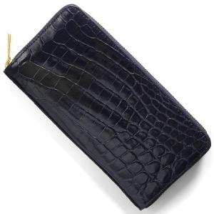 本革 長財布 財布 メンズ レディース クロコ グロスネイビー CRS002HLG LNV Leather