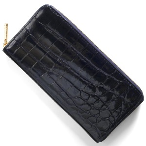 本革 長財布 財布 メンズ レディース クロコ ネイビーブルー CRS002HLG NVY Leather