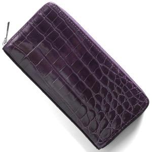 本革 長財布 財布 メンズ レディース クロコ パープル CRS002HLG PPL Leather