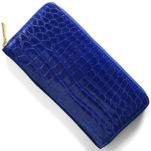 本革 長財布 財布 メンズ レディース クロコ ダークブルー CRS002HLG RBL Leather