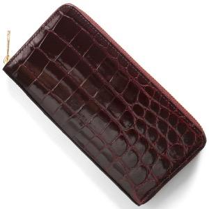 本革 長財布 財布 メンズ レディース クロコ ワインレッド CRS002HLG WIN Leather