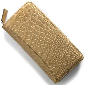 本革 長財布 財布 メンズ レディース クロコ シャンパンゴールド CRS002P CGD Leather