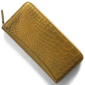 本革 長財布 財布 メンズ レディース クロコ ゴールド CRS002P GLD Leather