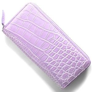 本革 長財布 財布 レディース クロコ ライラックパープル&ホワイト CRS002P LIWH Leather