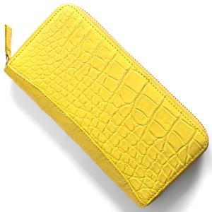 本革 長財布 財布 メンズ レディース クロコ ライトイエロー CRS002P LYE Leather