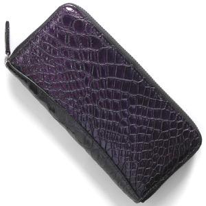 本革 長財布 財布 メンズ レディース クロコ パープル&グリーン CRS002P PPGR Leather