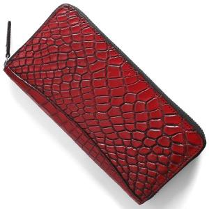 本革 長財布 財布 メンズ レディース クロコ レッド&ブラック CRS002P RDBK Leather