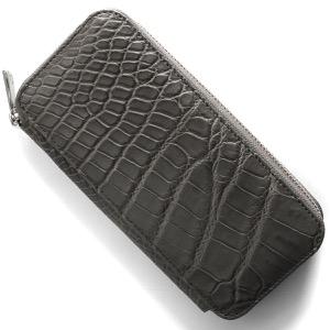 本革 長財布 財布 メンズ レディース クロコ グレー CRS163 GRY Leather