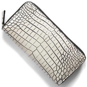 本革 長財布 財布 メンズ レディース クロコ バニラホワイト CRS1833 VAN Leather