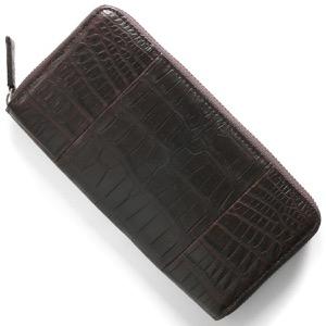 本革 長財布 財布 メンズ レディース クロコ ダークブラウン CRS1836 DBR Leather