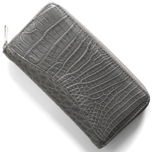 本革 長財布【札入れ】 財布 メンズ レディース クロコ グレー CRS188M GRY Leather