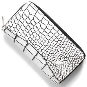 本革 長財布【札入れ】 財布 メンズ レディース クロコ ホワイト&ブラック CRS188M WHBK Leather
