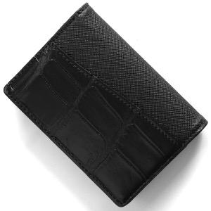 本革 カードケース/名刺入れ メンズ クロコ ブラック CRS714 BLK Leather