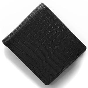 本革 二つ折り財布 財布 メンズ クロコ ブラック CRSM012JP BLK Leather