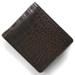 本革 二つ折り財布 財布 メンズ クロコ ダークブラウン CRSM012JP DBR Leather