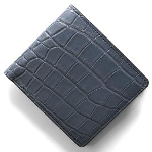 本革 二つ折り財布 財布 メンズ クロコ ネイビーブルー CRSM012JP NVY Leather