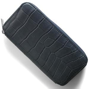 本革 長財布 財布 メンズ レディース クロコ ブルーグレー DRS163 BLGY Leather