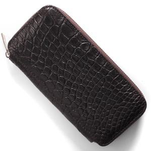 本革 長財布 財布 メンズ レディース クロコ ニコチンブラウン DRS163 NIC Leather
