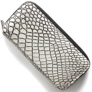 本革 長財布 財布 メンズ レディース クロコ バニラホワイト DRS163 VAN Leather
