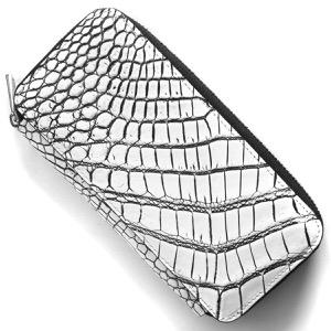 本革 長財布 財布 メンズ レディース クロコ ホワイト&ブラック DRS163 WHBK Leather