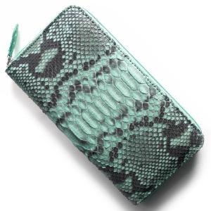 本革 長財布 財布 メンズ レディース パイソン ブルー OKU6754 BL Leather