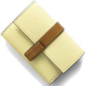 ロエベ三つ折り財布 財布 レディース バーティカル アナグラム パールライムイエロー&オークグリーンブラウン C660S86X01 4354 2021年春夏新作