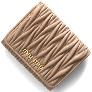 ミュウミュウ 三つ折り財布 財布 レディース マトラッセ カメオピンクベージュ 5MH016 N88 F0770 MIU MIU