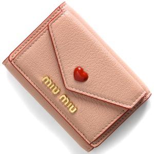 ミュウミュウ 三つ折り財布/ミニ財布 財布 レディース マドラス ラブ ハート オルキデアピンク 5MH021 2BC3 F0615 2021年春夏新作 MIU MIU