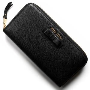ミュウミュウ 長財布 財布 レディース マドラス フィオーコ リボン ブラック 5ML506 3R7 F0002 MIU MIU