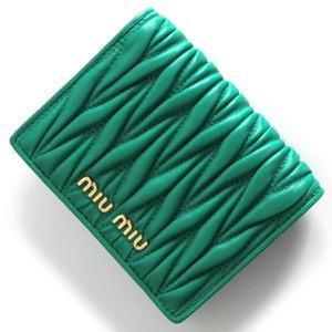 ミュウミュウ 二つ折り財布 財布 レディース マトラッセ アッセンチオグリーン 5MV204 N88 F0MYE MIU MIU