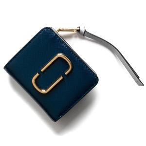 マークジェイコブス 二つ折り財布 財布 レディース スナップショット ダブルJロゴ ブルーシアマルチ M0014282 455 2019年春夏新作 MARC JACOBS