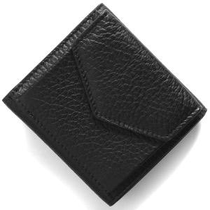 メゾンマルジェラ三つ折り財布/ミニ財布 財布 レディース ステッチ ブラック S56UI0150 P0399 T8013
