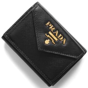 プラダ 三つ折り財布/ミニ財布 財布 レディース サフィアーノ メタル ブラック 1MH021 QWA F0002 2019年春夏新作 PRADA