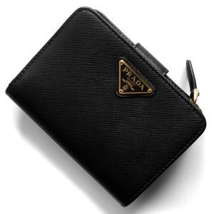 プラダ 二つ折り財布 財布 レディース サフィアーノ トライアングル 三角ロゴプレート ブラック 1ML018 QHH F0002 PRADA