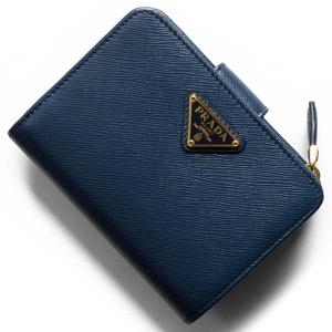 プラダ 二つ折り財布 財布 レディース サフィアーノ トライアングル 三角ロゴプレート ブリエッタブルー 1ML018 QHH F0016 PRADA