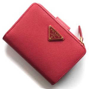 プラダ 二つ折り財布 財布 レディース サフィアーノ トライアングル 三角ロゴプレート ペオニアピンク 1ML018 QHH F0505 PRADA