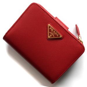 プラダ 二つ折り財布 財布 レディース サフィアーノ トライアングル 三角ロゴプレート フォーコレッド 1ML018 QHH F068Z PRADA