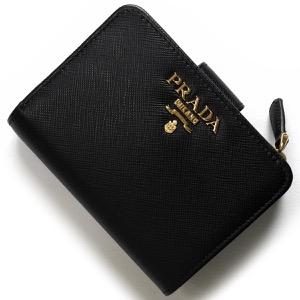 プラダ 二つ折り財布 財布 レディース サフィアーノ メタル ブラック 1ML018 QWA F0002 PRADA