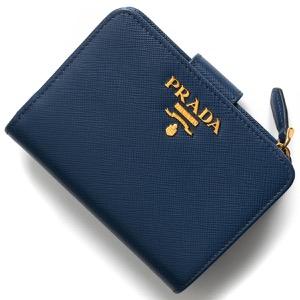 プラダ 二つ折り財布 財布 レディース サフィアーノ メタル ブリエッタブルー 1ML018 QWA F0016 2019年春夏新作 PRADA