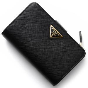 プラダ 二つ折り財布 財布 レディース サフィアーノ トライアングル 三角ロゴプレート ブラック 1ML225 QHH F0002 PRADA