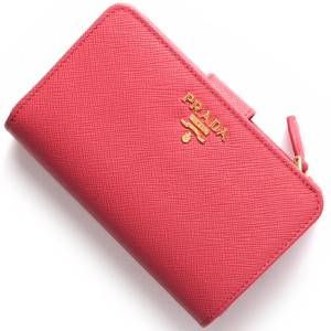 プラダ 二つ折り財布 財布 レディース SAFFIANO METAL ペオニアピンク 1ML225 QWA F0505 PRADA