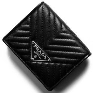 プラダ 二つ折り財布 財布 メンズ レディース ナッパ インプントゥーレ 三角ロゴプレート キルティング ブラック 1MV204 2CET F0002 PRADA