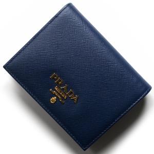 プラダ 二つ折り財布 財布 レディース サフィアーノ メタル ブリエッタブルー 1MV204 QWA F0016 PRADA