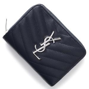 サンローランパリ イヴサンローラン 二つ折り財布 財布 レディース モノグラム MONOGRAMME YSL ディープマリンブルー 403723 BOW02 4147 SAINT LAURENT PARIS