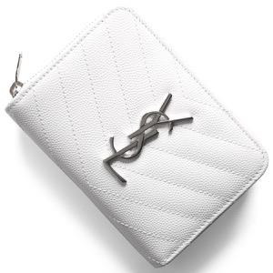 サンローランパリ イヴサンローラン 二つ折り財布 財布 レディース モノグラム MONOGRAMME YSL ブランオプティックホワイト 403723 BOW02 9011 SAINT LAURENT PARIS