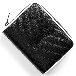 サンローランパリ イヴサンローラン 二つ折り財布 財布 レディース モノグラム MONOGRAMME YSL ブラック&ブランオプティックホワイト 403723 BOWC8 1095 SAINT LAURENT PARIS