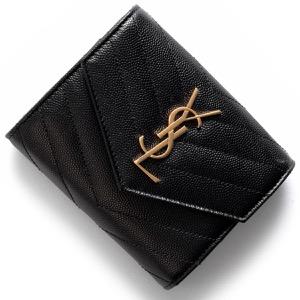 サンローランパリ イヴサンローラン 三つ折り財布 財布 レディース モノグラム YSL ブラック 403943 BOW01 1000 SAINT LAURENT PARIS