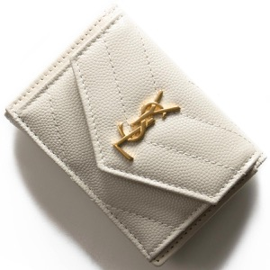サンローランパリ イヴサンローラン 三つ折り財布/ミニ財布 財布 レディース モノグラム YSL クリームソフトホワイト 505118 BOWA1 9207 SAINT LAURENT PARIS