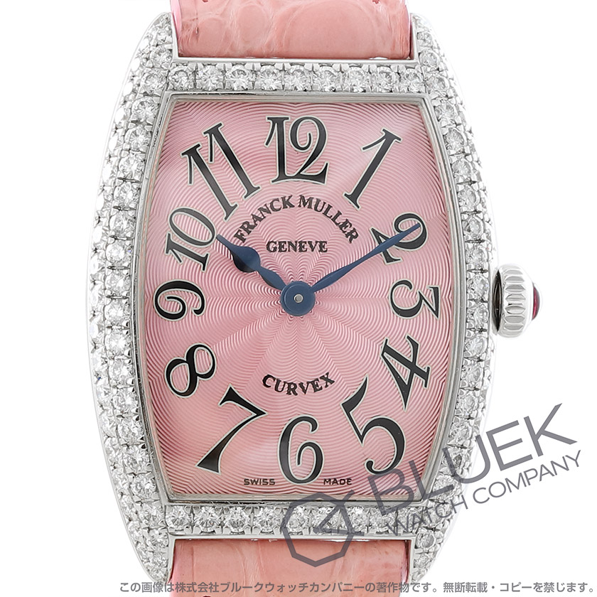 フランクミュラー トノーカーベックス ダイヤ WG金無垢 クロコレザー 腕時計 レディース FRANCK MULLER 1752 QZ D[FM1752QZ2DWGPKLZPK]